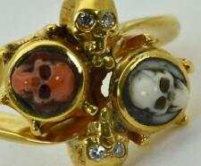 $9500 MUSEUM Victorian Memento Mori 14K Gold,Diamonds&Coral Cameo ladies ring