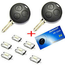 2x Für Smart 450 Schlüssel Funkschlüssel Gehäuse + 6x Mikro Taster +1x Batterie