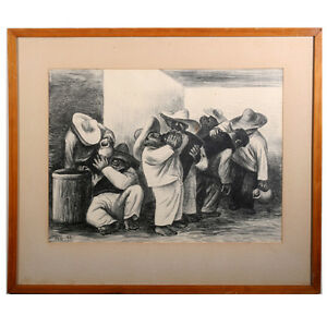 "Untitled Signed Lithograph by Marshall Goodman (Seven Drunk Men) 23x27"" 1941"