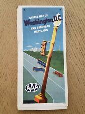VTG 1961 AAA Washington DC Suburban Maryland City Street Highway Road Map MD