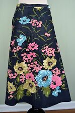 ANNE KLEIN Gray Corduroy A-Line Long Floral Modest Sequins SKIRT 6 S blue pink