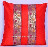 "16"" Indian Silk Brocade Sofa Pillow Cover Throw Cushion Cover Textile Red Pillow"