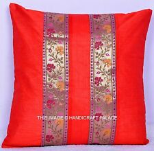 "16"" Indian Silk Brocade Sofa Pillow Cover Throw Cushion Cover Textile Red Pillow"