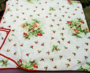 Large Rectangular Polyester Tablecloth. White/Red/Green Holly/Christmas Design.