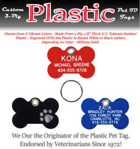 PLASTIC BONE SHAPE Pet Dog Cat Identification Name Tags-A Custom Engraved ID Tag