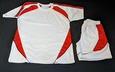 White and Red Soccer uniform Jersey and shorts (Blank) | Large