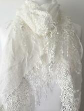Lace Scarf Ivory Cream Vintage Style Scarf Tassel Trim Embroidery Wedding New