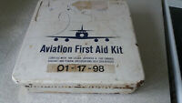 VINTAGE METAL AVIATION FIRST AID KIT BOX- - ORIGINAL BANDAGES IN TIN