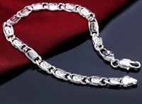 925 Sterling Silver Wide 7mm Linked Chain Bracelet Bangle +GiftPouch  D297