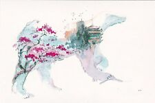RARE Fantasy Bear sakura Japan by Kovaleva Russian modern postcard
