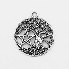 10 x Silver Tone Open Inverted Life Tree Pentacle Star Round Charms Pendants