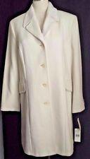 New Calvin Klein White Winter Single Brested Coat Angora Wool Blend Size 14