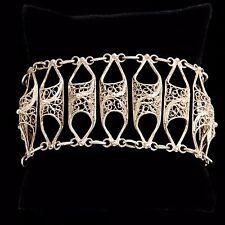 Antique Vintage Victorian Sterling 800 Silver Hand Filigree Estate Bracelet!