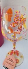 """Love My Wine Lolita Hand Painted """"Butterfly Kisses"""" Glass 15 oz Recipe on Bottom"""