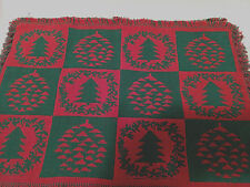 Christmas Tree Pattern Tapestry Placemats Reversible Red Green 19 x 13.5 4pc Set