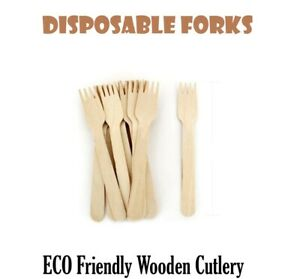 50 x ECO Friendly Disposable Wooden Forks Biodegradable Picnic Outdoor Cutlery