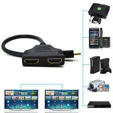 New HDMI 1 Male To Dual HDMI 2 Female Y Splitter Cable Adapter HD LED LCD TV BG