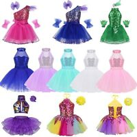 Kid Girls Ballet Dance Dress Leotard Gymnastics Tutu Skirt Sequins Dance Costume