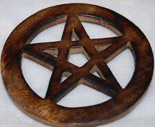"""Wooden Pentagram Altar Tile 4"""" Wicca, Pagan, Protection, Elemental"""