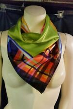"Vintage "" Bernardi ""  Woman's Scarf   Green-Yellow-Brown    26"" x 26"""