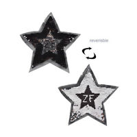 reversible change color sequins five-pointed star sew on patches for TB