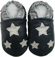 carozoo silver star blue outdoor rubber sole leather shoes up to 4 years old