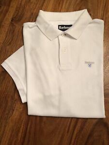 Barbour Short Sleeved Piqué Polo Shirt, White Size XL Good Condition