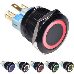 12V Interrupteur à Verrouillage Bouton Poussoir Bistable Latching Ring 22mm LED