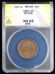 1901 Ceylon 1C One Cent Queen Victoria 1-Year Type ANACS MS3 Brown