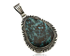 Turquoise .925 Silver C.80's Navajo William Denetdale Pendant Natural