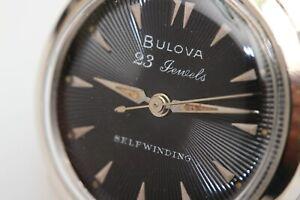 1956 vintage Bulova Automatic 23 jewel men's wristwatch w/ Black Textured Dial