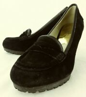 Michael Kors Wos Shoes US 7 M Black Suede Slip-On Wedge Heel Penny Loafers 2750