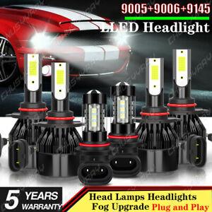 For Chevy Silverado 1500 2500 HD 2004-2006 6K LED Headlight+Fog Light Bulbs Kit