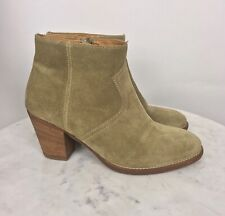 Madewell 1937 Women's Ankle Boots Size 9.5M Sage Green Suede Leather Chunky Heel