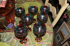 Stunning Multi Color Glass Wine Goblet Glasses-Gold String Swirl-7 Pieces