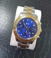 ds Orologio Polso Zcc Uomo Quarzo Cronografo Elegante Oro Silver Fondo Blu lac