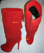"Moxy Mojo 18"" Knee High Boots 5"" Heels Red Women 8.5 New Suede Leather Fringde"