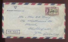FIJI 1963 QE2 2/6 NADI AIRPORT SOLO on SWEDISH AMERICAN LINE ENVELOPE