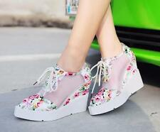 Womens Floral Print Shoes Mesh Lace Up High Wedge Heel Platform Sneakers Ch8 NEW