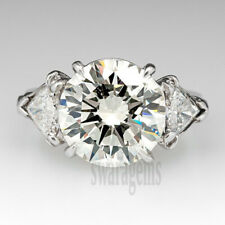 925 Sterling Silver 3.00 Ct Colorless Round Moissanite Vintage Engagement Ring 7