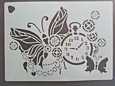 Wall Stencil Reusable Template Butterfly Watch Clock Cogs Chain Keys Steampunk