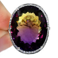 MULTI COLOR AMETRINE OVAL RING SILVER 925 UNHEATED 19 CT 20X16 MM. SIZE 6.25