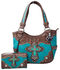 Western Turquoise Cross Laser Cut Concealed Carry Purse Women Handbag Wallet Set