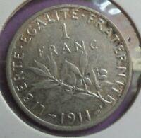 1 Franc semeuse 1911 : TTB : pièce de monnaie Française ARGENT N5