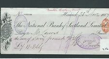 wbc. - CHEQUE - CH276 - USED -1880's - NATIONAL BANK of SCOTLAND, HAWICK