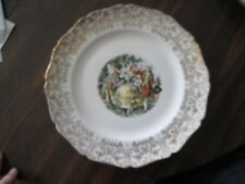 """Royal Queen Canonsburg Empress Chantilly 10"""" Plate, GOLD FILIGREE RIM, PEOPLE"""