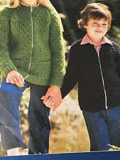 "Knitting Pattern Children Girls And Boys  Zippered Cardigan Aran 22-32"" Vintage"
