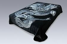 Solaron Classic Dragon Korean Thick Mink Soft Plush Queen Size Blanket Black