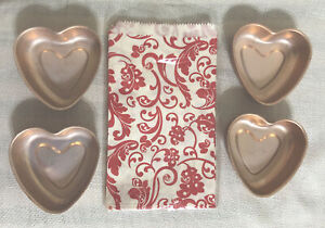 Vintage Heart Molds Lot of 4 Aluminum + 24 Treat Bags Valentines Day Baking