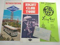 Vintage San Francisco Ephemera Brochures Pamphlets Gray Line Chinatown Club 60s